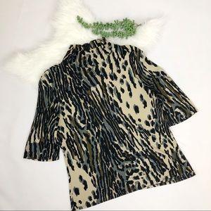 Trina Turk Mock Neck Leopard Blouse
